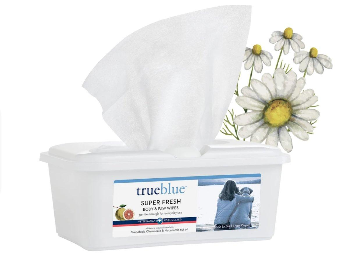 True Blue Wipes in white packaging
