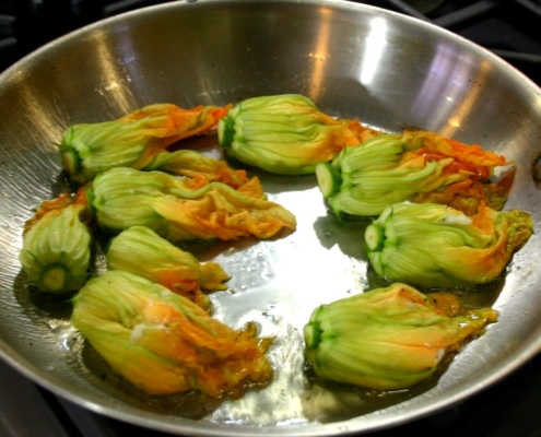 Stuffed Zucchini Flowers in a sauté pan