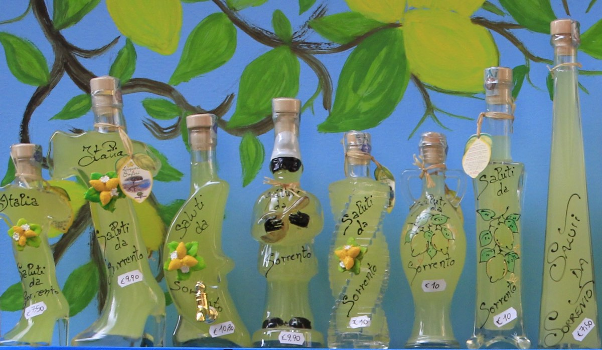 bottles of limoncello on a shelf