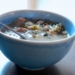 Closeup of Leftover Turkey Soup in a blue bowl